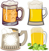 Set of beer mugs — Stock Vector
