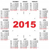 Office calendar 2015 hours — Stock Vector