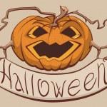 Lantern pumpkin holding a banner Halloween — Stock Vector #53474329