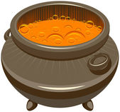 Potion brewed and boiling in the cauldron — Stock Vector