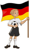 German soccer player holding ball and flag — Stock Vector