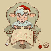 Christmas lamb sitting in a chair and knits symbol 2015 — Stock Vector