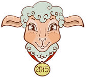 The head of sheep with a gold medal in 2015 — Stock Vector