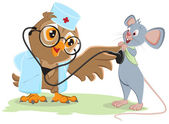 Owl doctor and patient mouse — Stock Vector