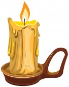 Burning wax candle in a stand — Stock Vector