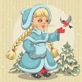 Snow Maiden in blue fur coat feeds bullfinch — Stock Vector
