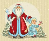 Russian Santa Claus. Grandfather Frost and Snow Maiden. Christmas card — 图库矢量图片