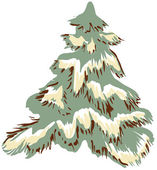 Pine covered with snow — Stock Vector