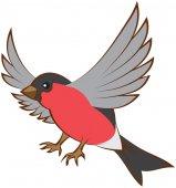 Flying bullfinch opened wings — Stock Vector