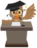 Owl speaker said on the podium — Stock Vector