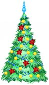 Green Christmas tree with ornaments — Stock Vector