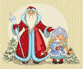 Russian Santa Claus. Grandfather Frost and Snow Maiden. Christmas card — Stock Vector