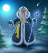 Russian blue Santa outdoors — 图库照片