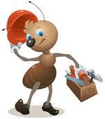Carpenter ant in the helmet bears toolbox — Stock Vector