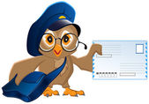 Owl postman brought a letter — Stock Vector