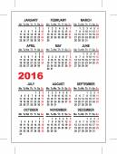 Pocket calendar 2016 template — Stock Vector