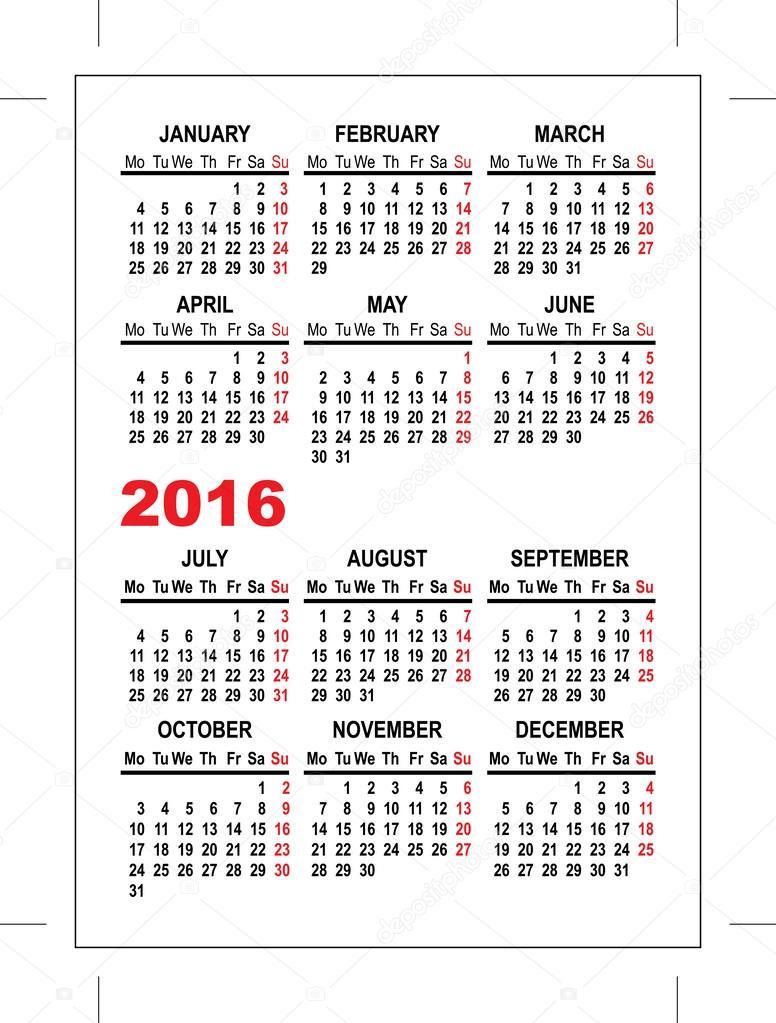 Kapesn kalend 2016 ablona stock vektor orensila for Pocket schedule template