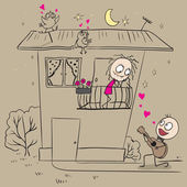Guy plays guitar and sings a serenade his girlfriend — Vector de stock
