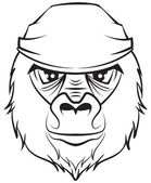 Gorilla head. Black and white drawing — Stock Vector