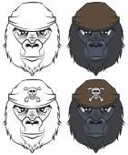 Set gorilla head tattoo — Stock Vector