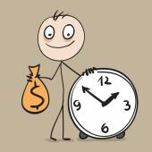Time is money. Man holding bag of money and hours — Stock Vector