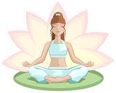 Yoga. Beautiful girl meditating in lotus position — Stock Vector