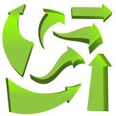 Set of green arrows — Stock Vector