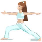 Girl yoga. Virabhadrasana — Stock Vector