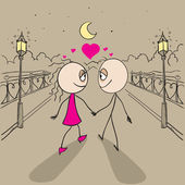 Couple love walking light of lanterns in park — Stock Vector