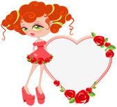 Lovely girl. Card for Valentine's Day — Stock Vector