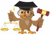 Owl Judge holding gavel and scales — Stock Vector