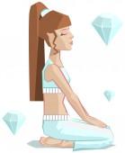 Girl yoga. Vajrasana — Stock Vector