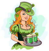 Patrick girl holding a tray of green beer — Stock Vector
