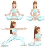 Set girl yoga pose — Stock Vector