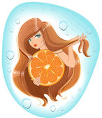 Girl with long hair holds an orange. Template label for packing shampoo — Stock Vector