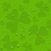 Green seamless clover leaves with transparent drops of dew — Stock Vector