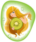 Girl with long hair holds an kiwi fruit. Template label for packing shampoo — Stock Vector