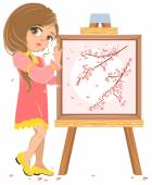 Girl standing near easel painter. Picture of cherry blossoms — Stock Vector