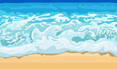 Sea wave and sand beach — Stock Vector