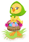 Easter - chicken holding a basket of eggs — Stock Vector