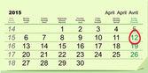 April 12 - Orthodox easter 2015. Green calendar — Stock Vector