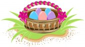 Basket with colored eggs is standing on green grass — Stock Vector