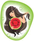 Brunette girl holding a watermelon. Template label shampoo — Stock Vector