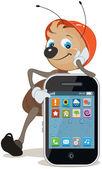 Ant in helmet shows on screen smartphone — Stock Vector