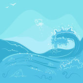 Fish jumping out of the ocean wave — Stock Vector