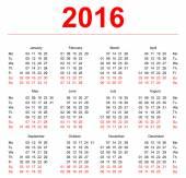 2016 Calendar template. Vertical weeks. First day Monday — Stock Vector