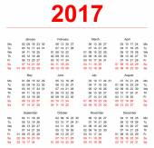 2017 Calendar template. Vertical weeks. First day Monday — Stock Vector