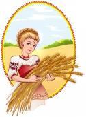 Woman holding wheat ears — Stock Vector