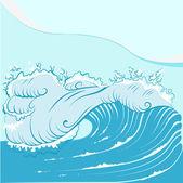 Blue foamy sea wave — Stock Vector