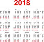 2018 Calendar template. Vertical weeks. First day Monday — Stock Vector